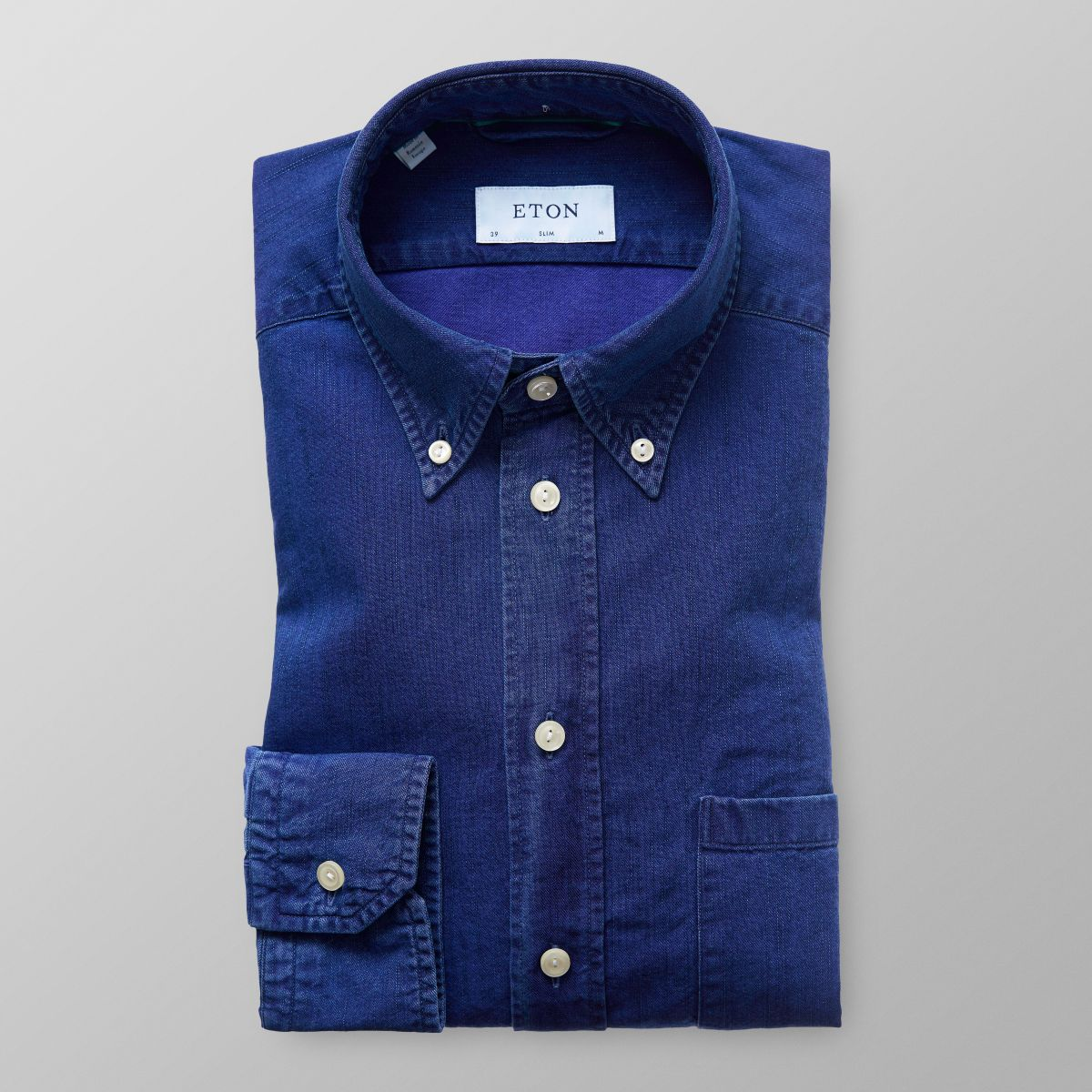 Slim fit Denim Button Down Shirt Eton Clearance With Credit Card Visa Payment For Sale Manchester Great Sale vkzRsYX1A
