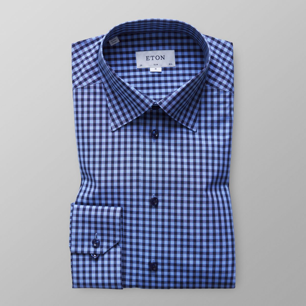 Outlet Locations Slim fit Blue Check Button-Under Shirt Eton Free Shipping Clearance Outlet Top Quality Supply Cheap Online 8BDDQ2eHD