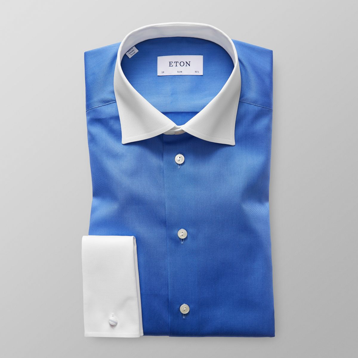 Blue Contrast Collar Shirt Slim Eton Shirts Us