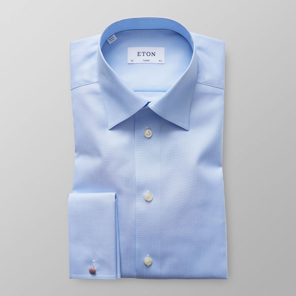 Light blue herringbone french cuff shirt classic eton for What is a french cuff shirt