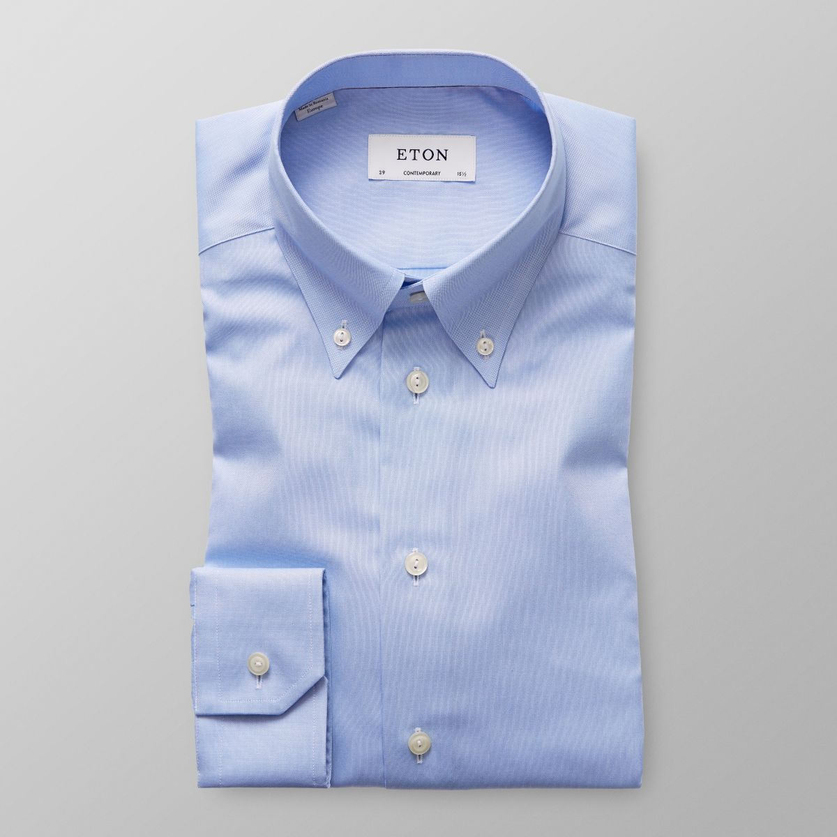 Light Blue Pinpoint Oxford Shirt Contemporary Fit Eton