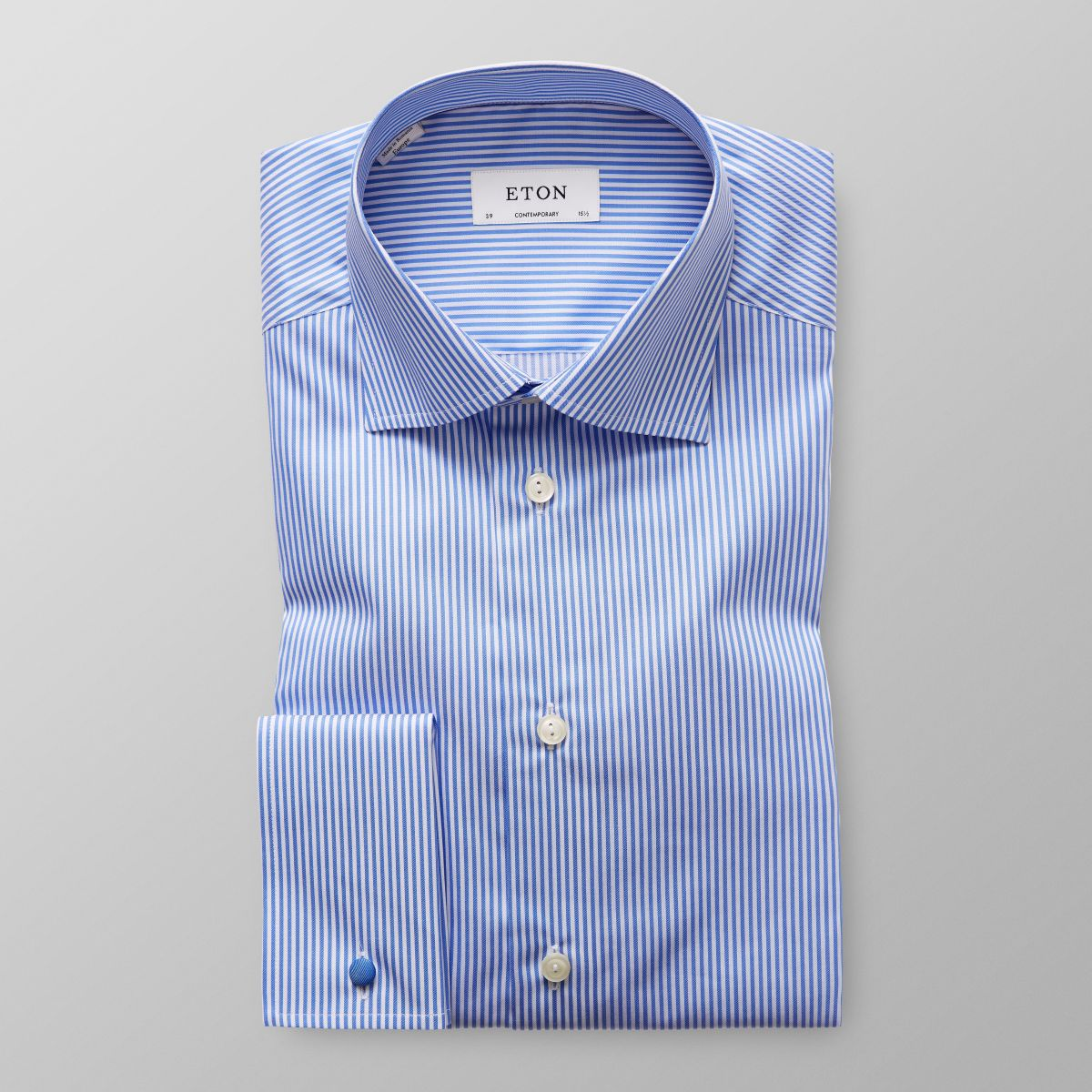 blue striped french cuff shirt contemporary eton shirts us. Black Bedroom Furniture Sets. Home Design Ideas