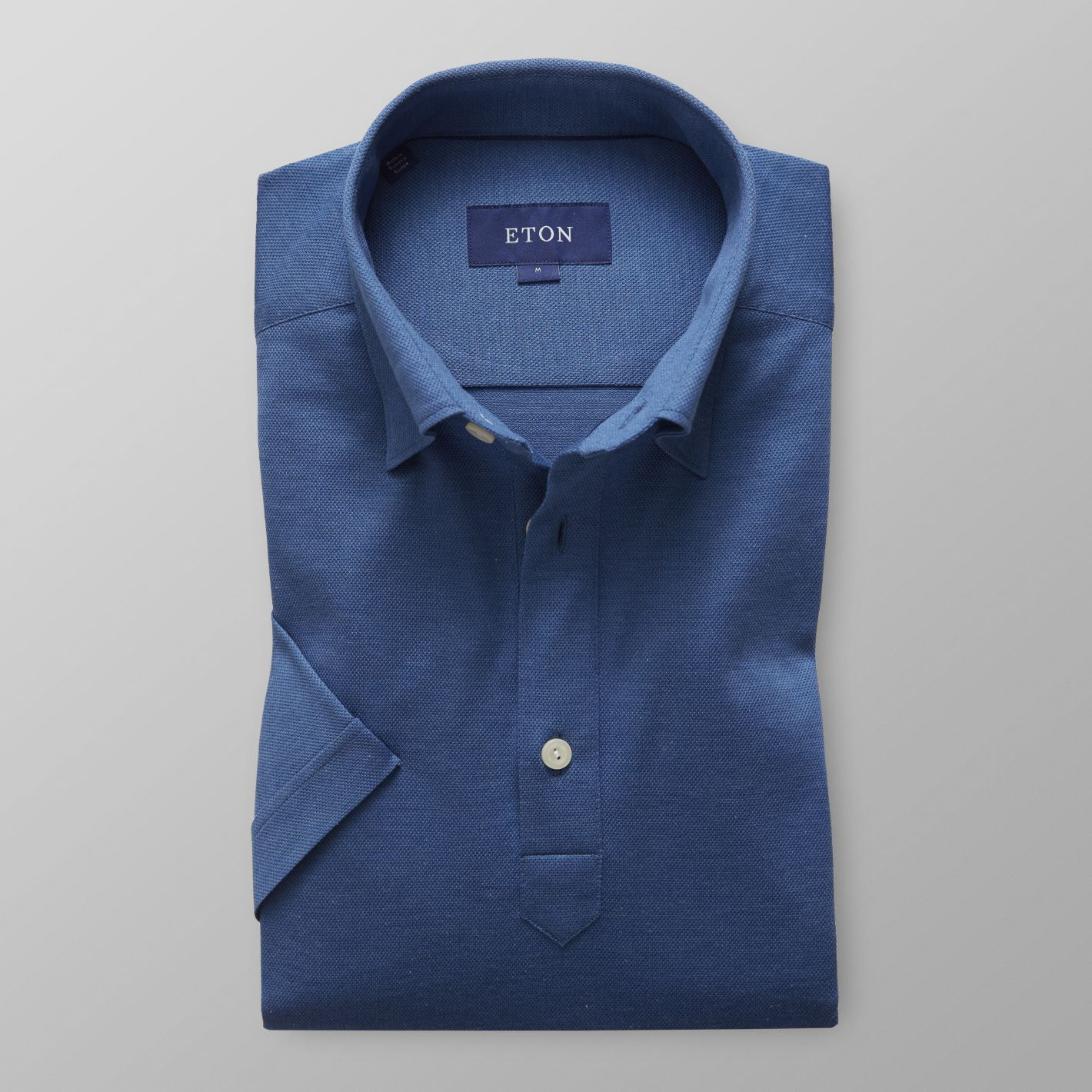 4d1a0ab04a Men's Blue Polo Short Sleeve Popover Shirt | Slim fit | Eton Shirts ...