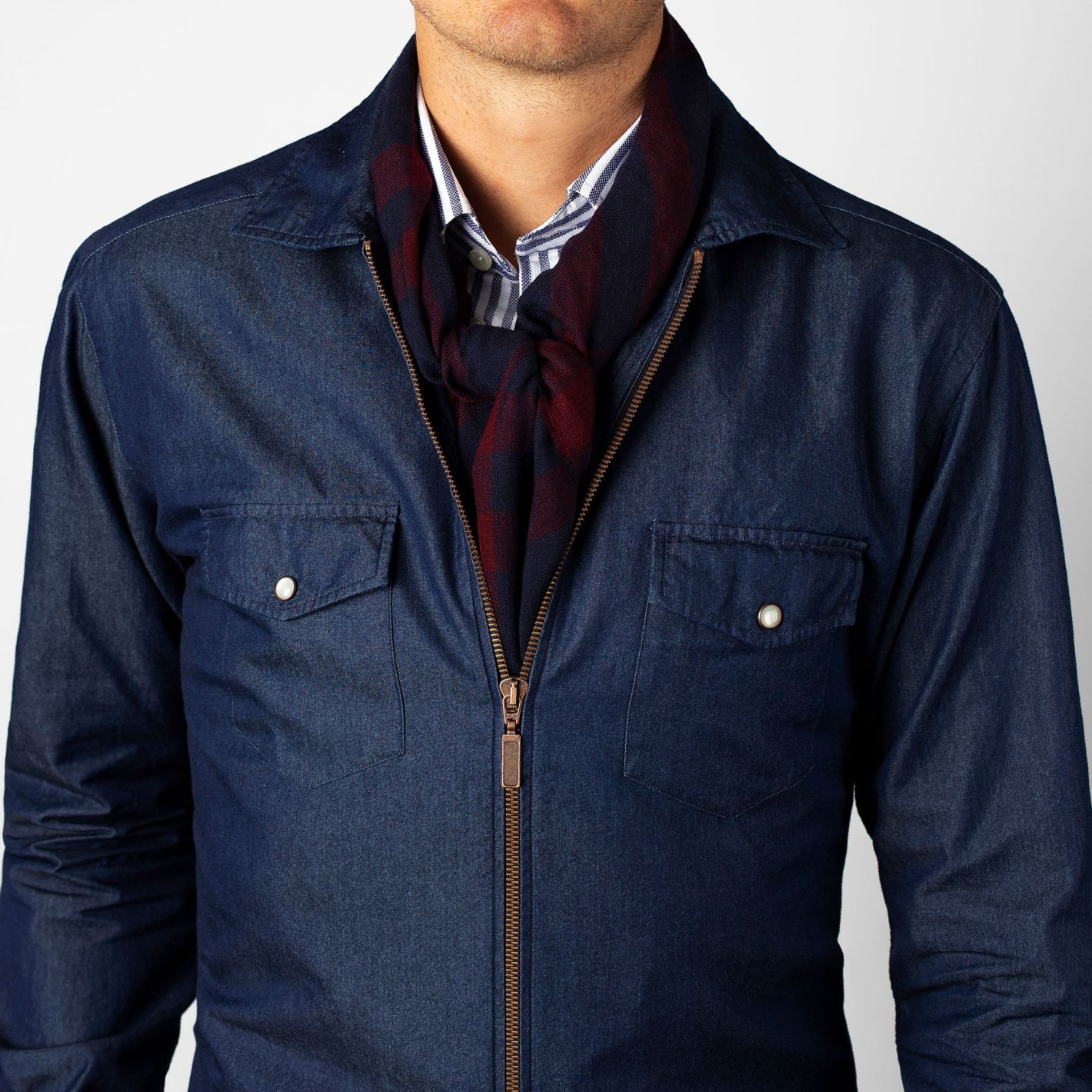 6ea37b17d5 Dark Denim Zipper Shirt