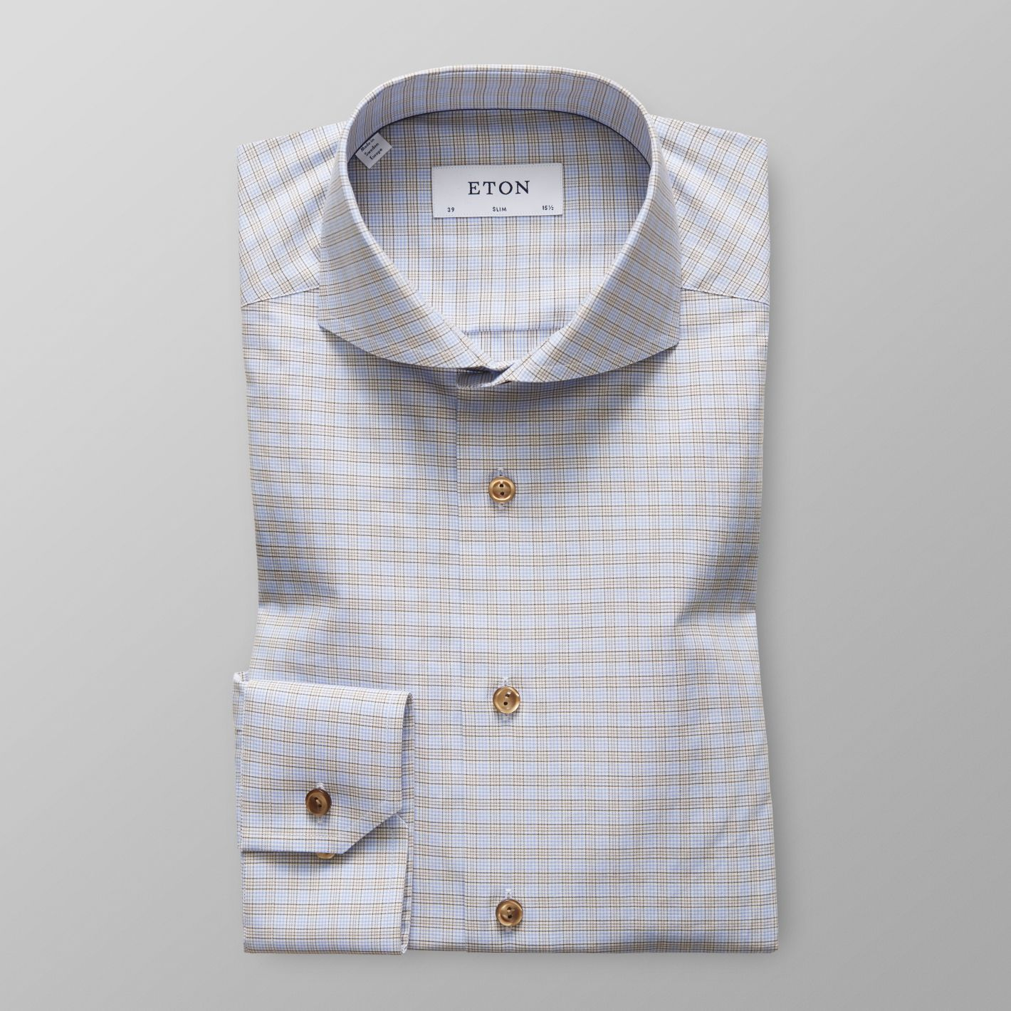 f9e4c9af80 Men's Sky Blue & Brown Checked Twill Shirt | Slim fit | Eton Shirts US