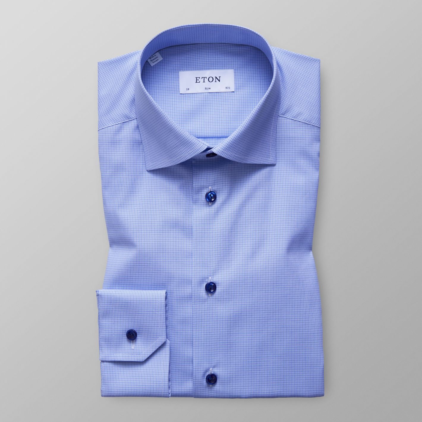 68af48a89506 Blue Check Poplin Shirt - Slim fit | Eton Shirts Canada
