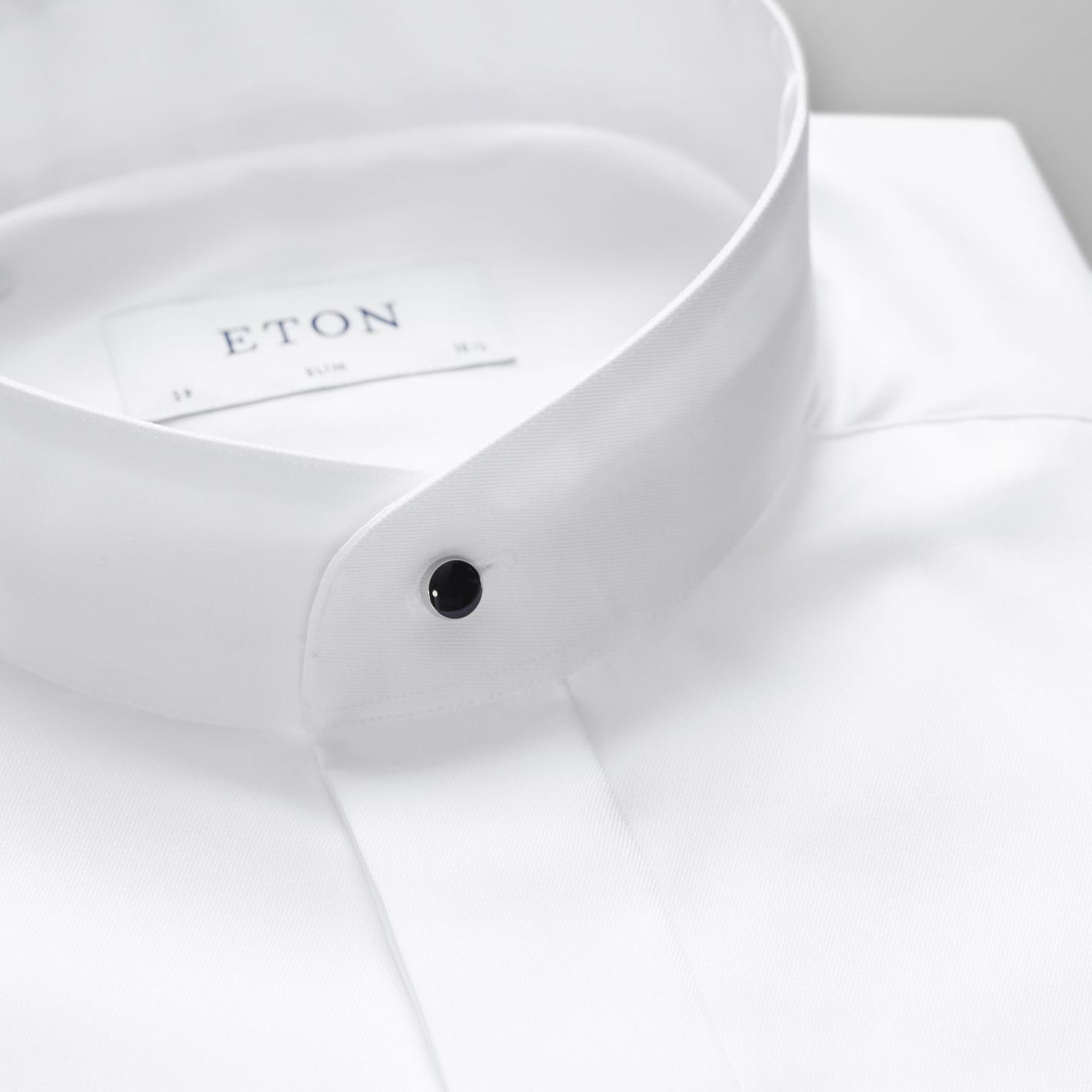 White Evening Shirt With Banded Collar Slim Fit Eton Shirts Us