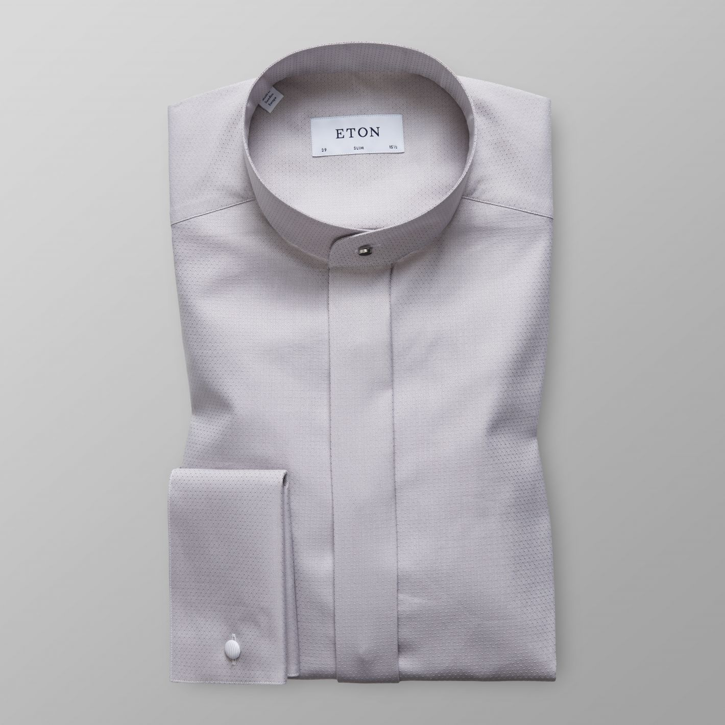 Grey French Cuff Shirt With Banded Collar Eton Global