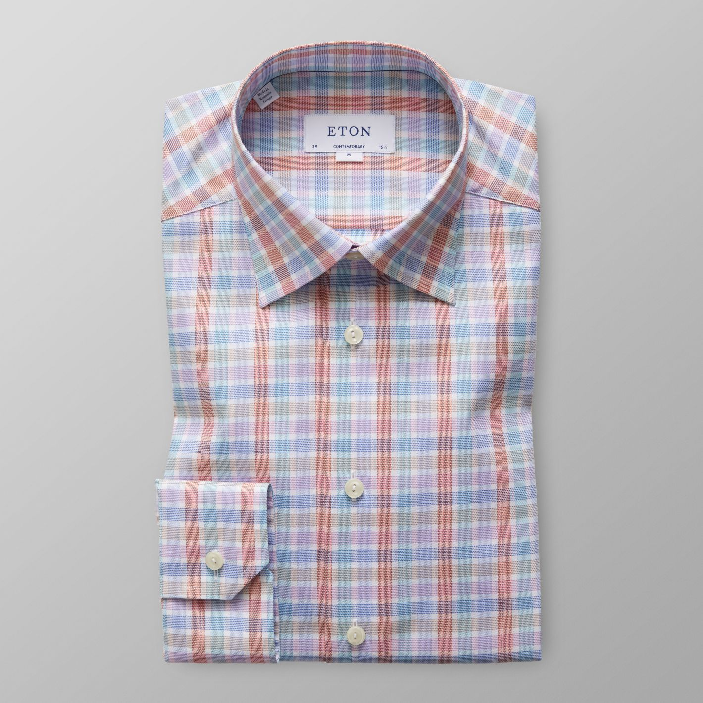 ceadbf35a6 Mens Multicoloured Checked Twill Shirt With Button Under Collar ...