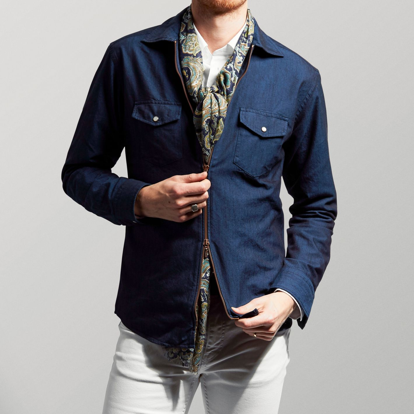 184775601c Navy Denim Zipper Shirt - Slim fit
