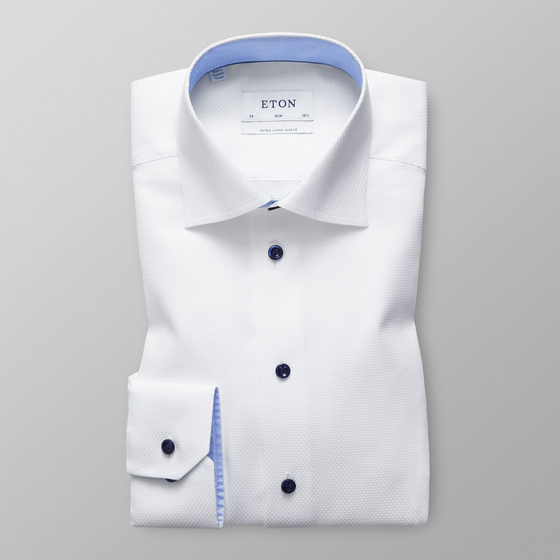 White Twill Shirt with Navy Buttons - Slim fit | Eton Shirts US