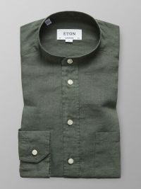 Green Linen Band Collar Shirt