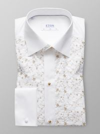 White Floral Embroidery Evening Shirt