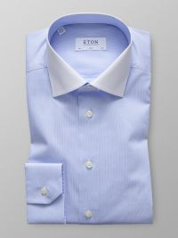 Sky Blue Micro Print Stretch Shirt