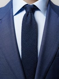 Navy Knitted Silk & Cashmere Tie