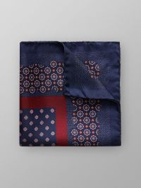 Red & Navy Floral Pocket Square