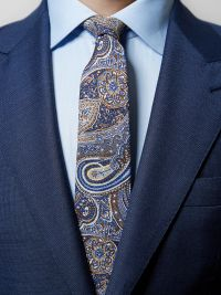 Blue Cotton & Silk Paisley Tie