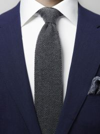 Grey Knitted Cashmere Tie