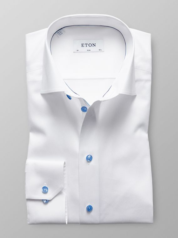 fc30d5ae387ccd White Twill Shirt With Blue DetailsSlim fit