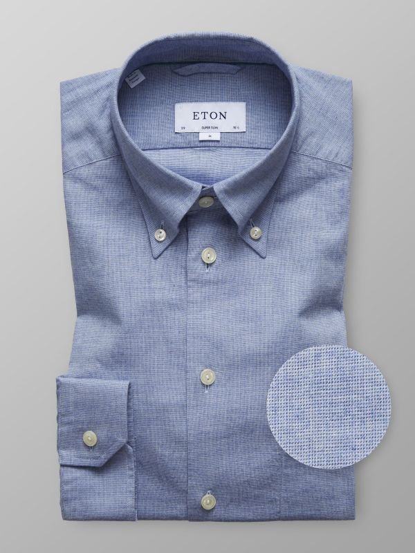 Blue Button-Down Flannel Shirt