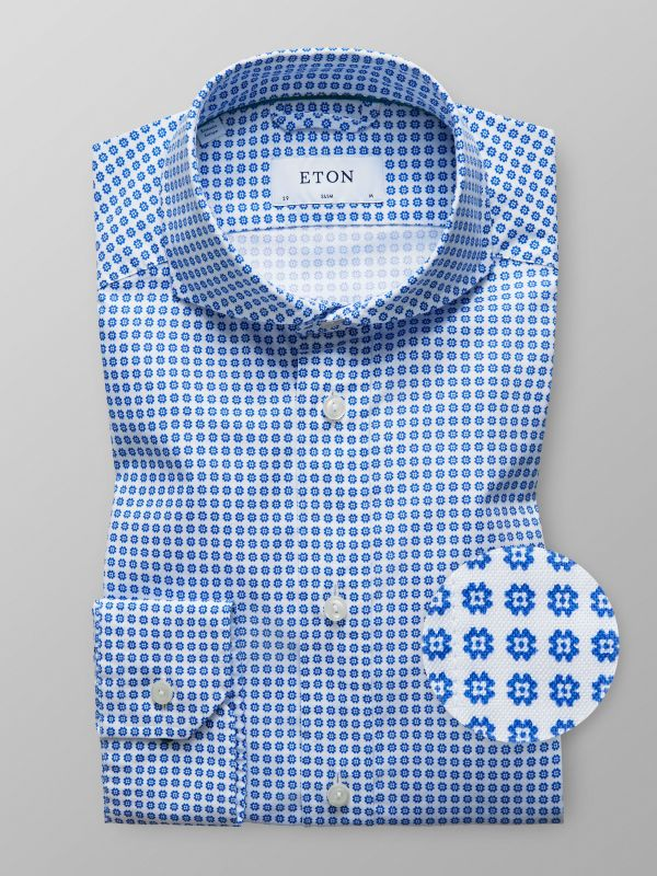 White & Blue Floral Oxford Shirt