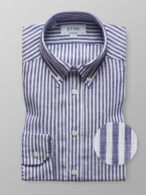 Navy Striped Linen Shirt