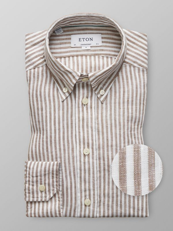 Brown Striped Linen Shirt