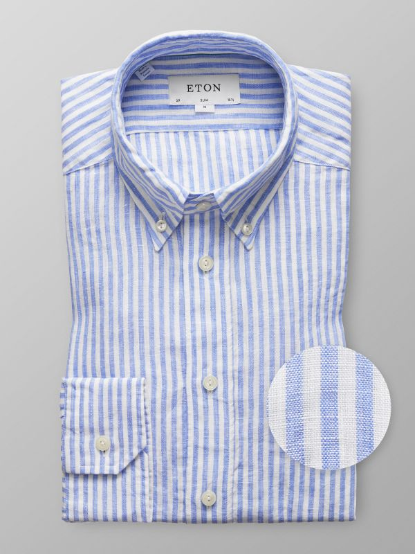 Light Blue Striped Linen Shirt