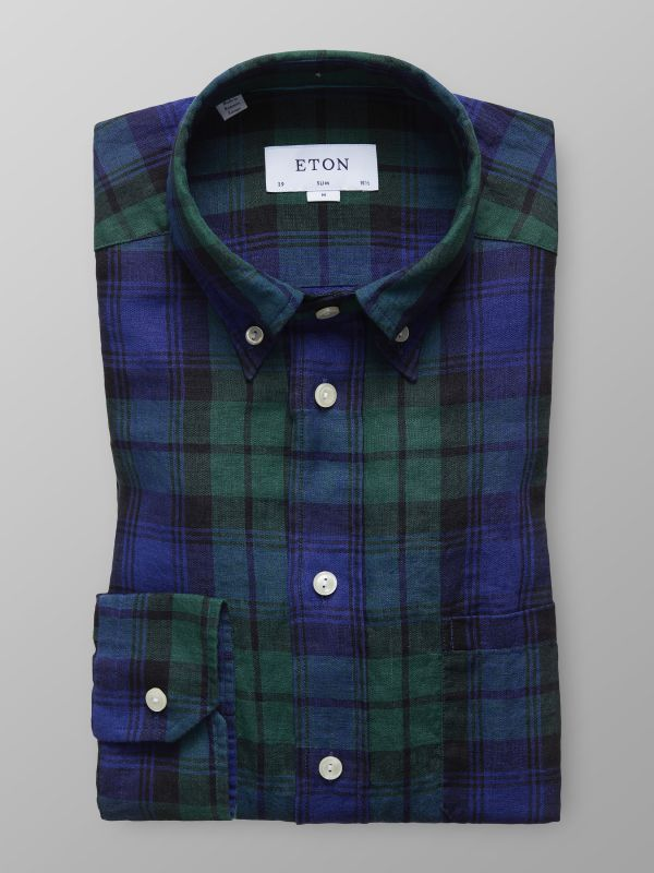 Green & Blue Checked Linen Shirt