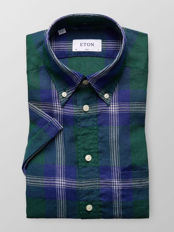 Checked Linen Shirt - Short Sleeve