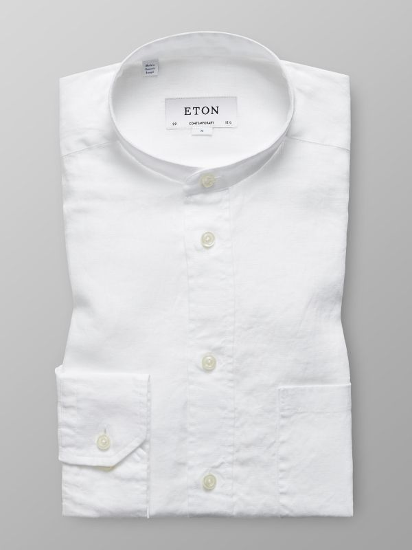 White Linen Band Collar Shirt