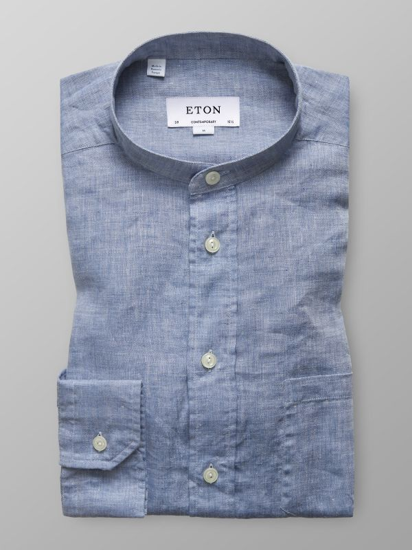 Sky Blue Linen Band Collar Shirt