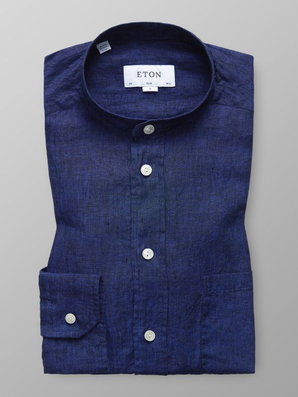 Navy Linen Band Collar Shirt