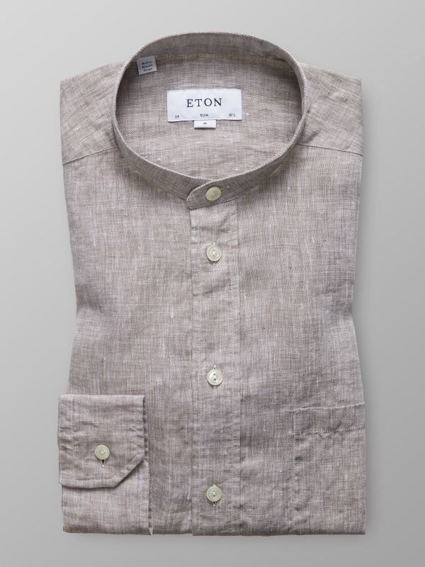 Beige Linen Band Collar Shirt
