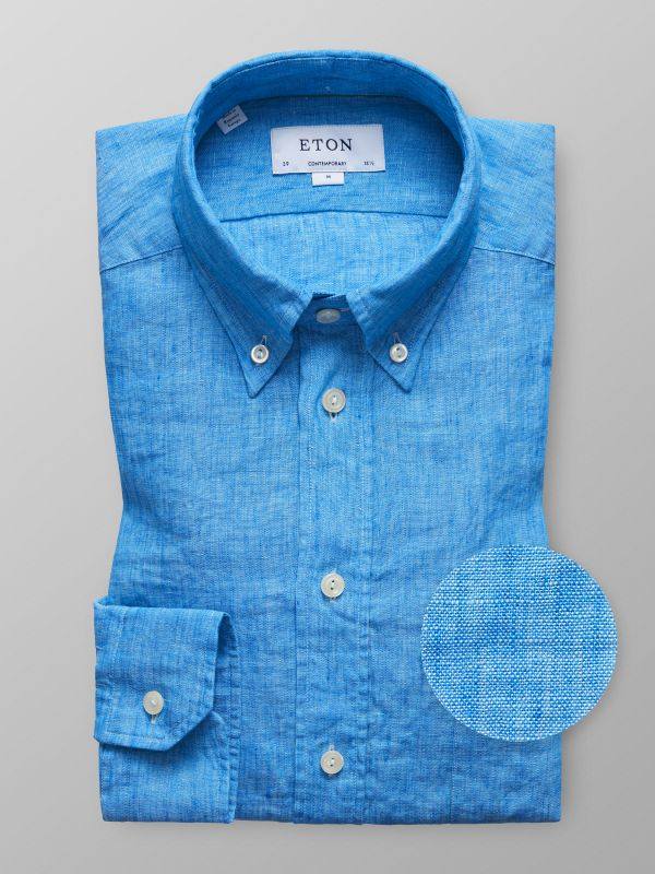 Blue Button Down Linen Shirt