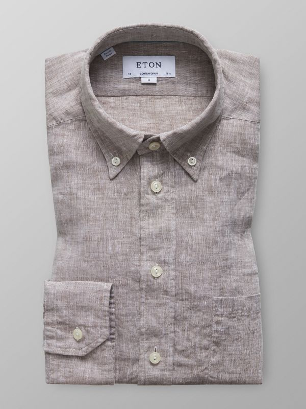 Brun linneskjorta - button down