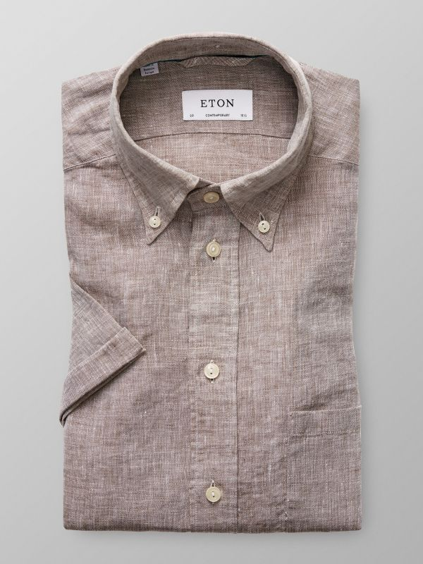 Brown Short Sleeve Linen Shirt