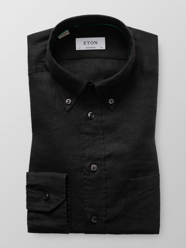 Black Button Down Linnen Shirt