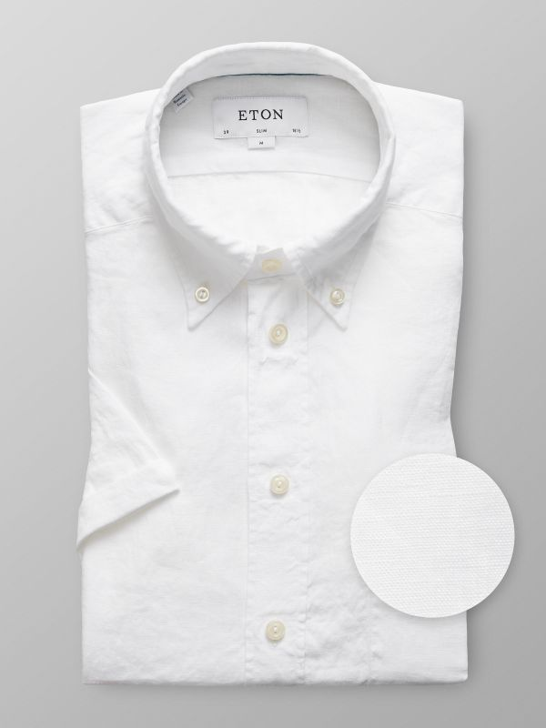 White Linen Shirt - Short Sleeve