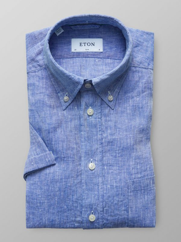 Blue Linen Shirt - Short Sleeve