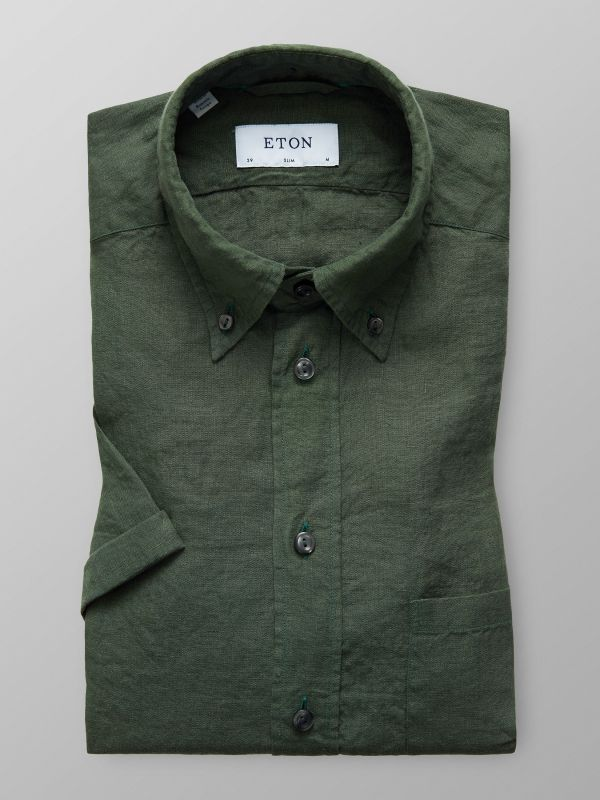 Green Linen Shirt - Short Sleeve