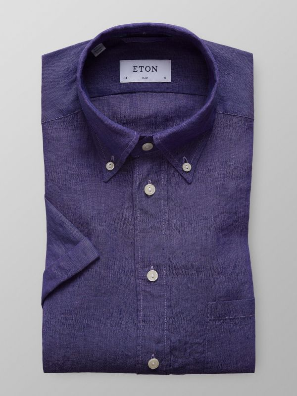 Purple Short Sleeve Linen Shirt