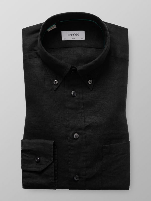 Svart linneskjorta - button down
