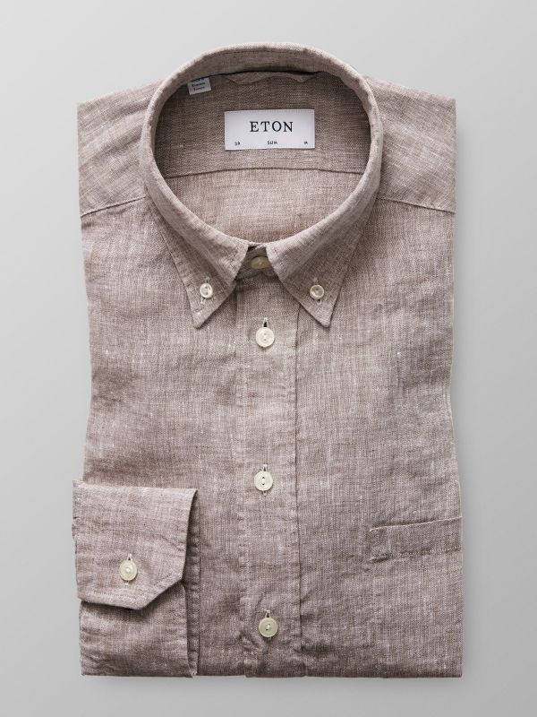 Brown Button Down Linen Shirt