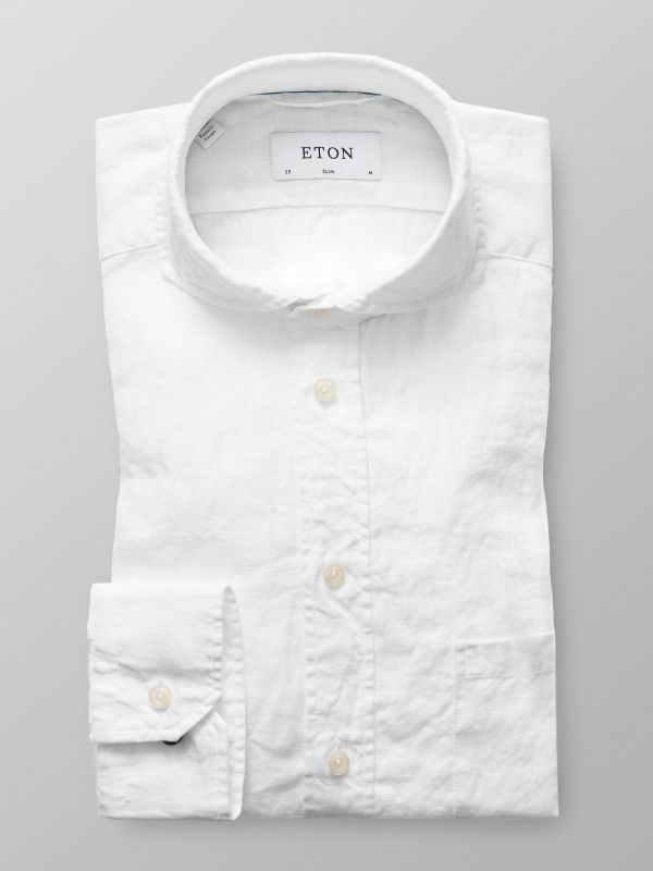 White Extreme Cut Away Linen Shirt