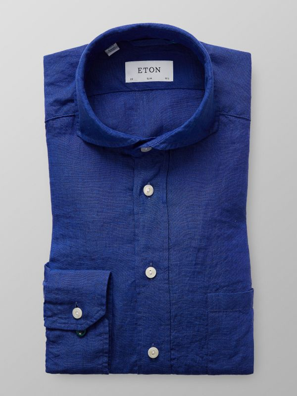 Navy Extreme Cut Away Linen Shirt