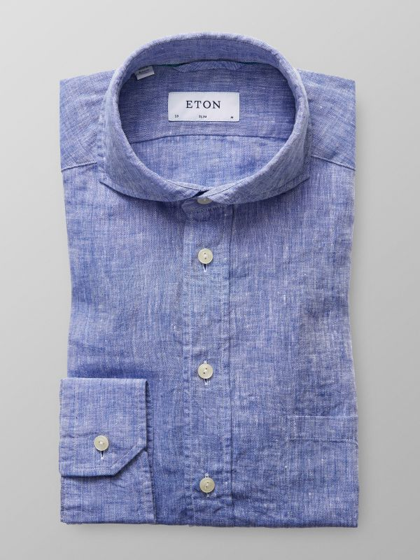 Blue Extreme Cut Away Linen Shirt
