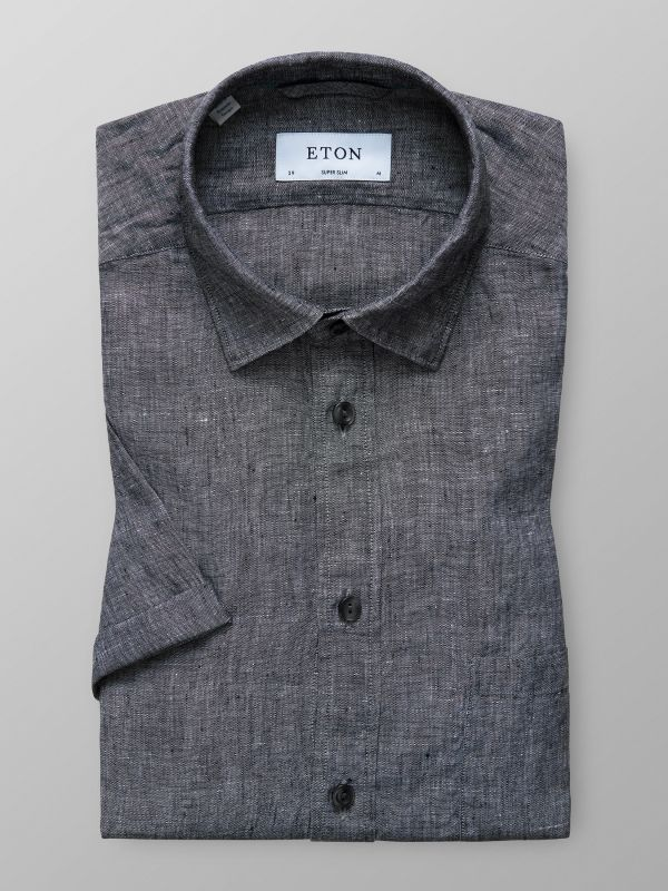 Grey Linen Shirt - Short Sleeve