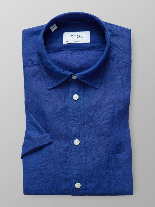 Deep Blue Linen Shirt - Short Sleeve
