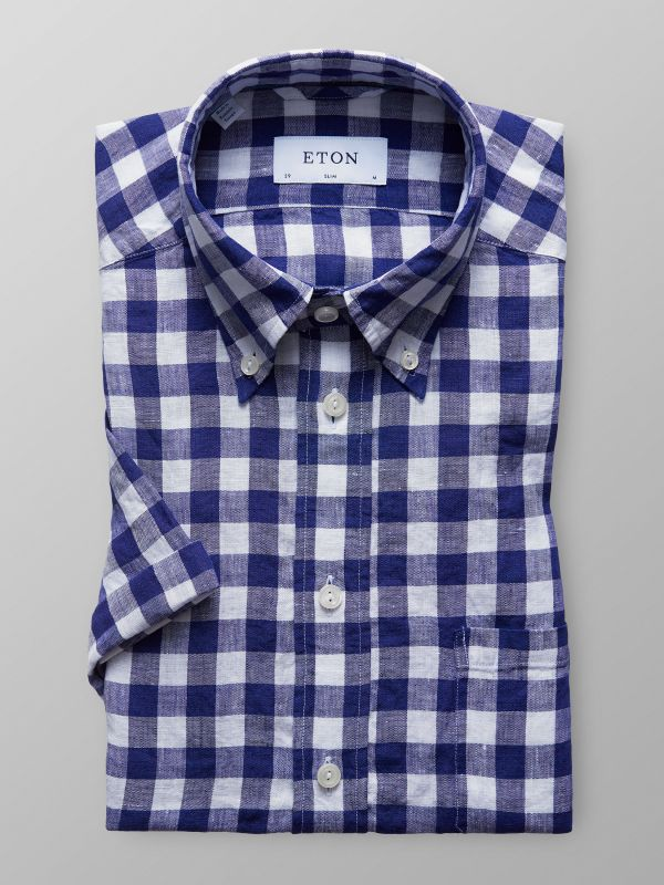 Blue Check Shirt - Short Sleeve